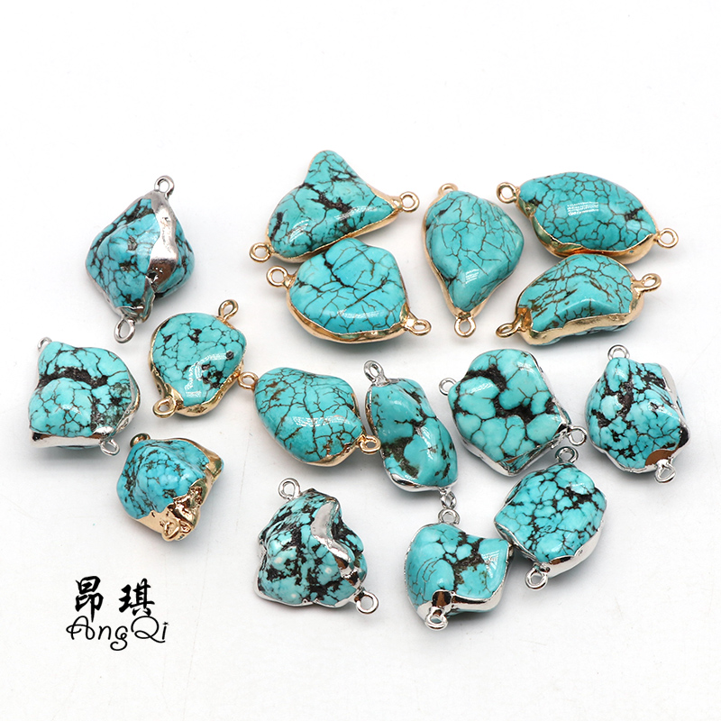 15-30mm Natural Irregular Rom Green Turquoises Stone Pendant For Jewelry Making DIY Women Men Gemstones Necklaces Accessories