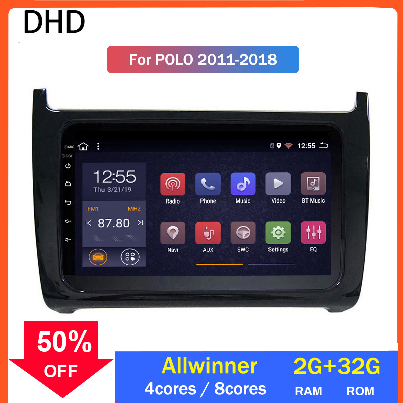 Car Radio Screen Multimedia For Volkswagen POLO 2008-2015 Video Player Navigation <font><b>GPS</b></font> Android 10.0 Tape Recorder <font><b>Autoradio</b></font> <font><b>2</b></font> <font><b>Din</b></font> image