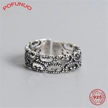 Pofunuo женское кольцо с полым цветочным узором состаренные