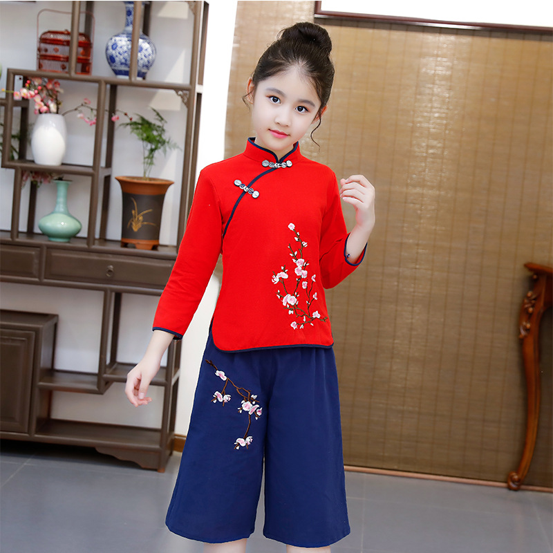 New Style Ethnic-Style Children Chinese Clothing Embroidery Plum Blossom Cotton Linen Long Sleeve Loose Pants GIRL'S Suit Autumn