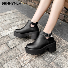 Купить с кэшбэком GBHHYNLH 2019 New Buckle Motorcycle Boots Women British Style Ankle Boots Gothic Punk Low Heel ankle Boot Winter Women LJA827