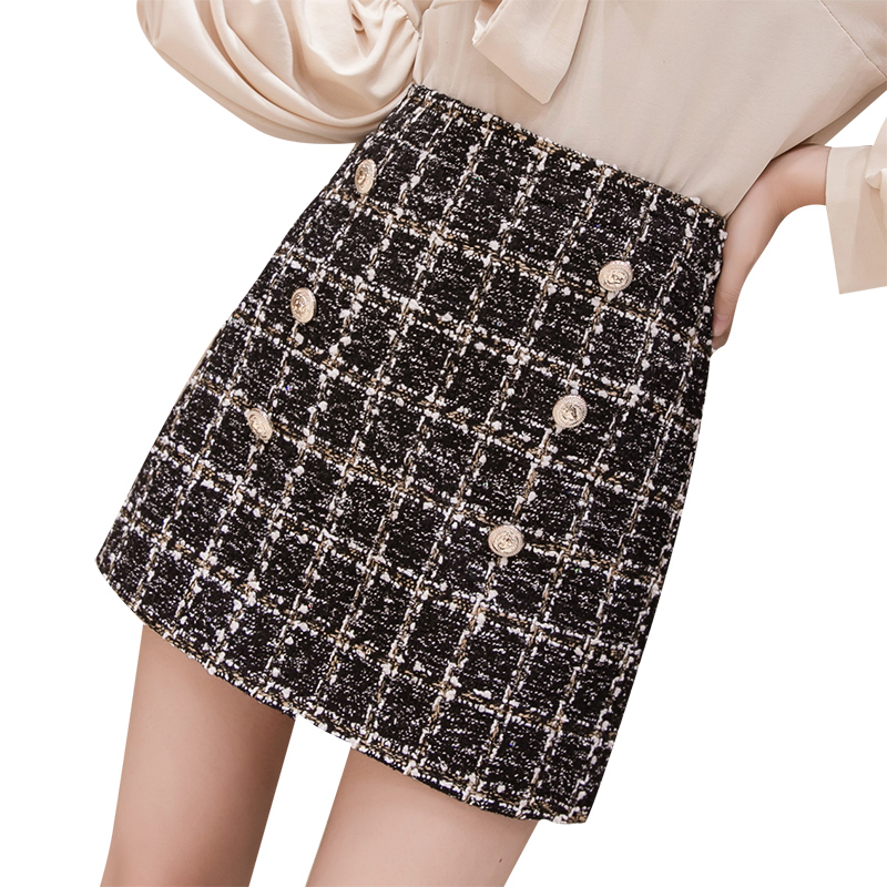 Autumn Winter Mini Tweed Skirt Women Sexy Plaid Skirts Ladies Fashion Korean High Waist Double Breasted Skirt