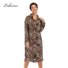 Echoine Party Elegant Chiffon Shirt Dress Women Button Sexy Leopard Print Loose Split Mid-Calf Ladies Highstreet Woman Outerwear