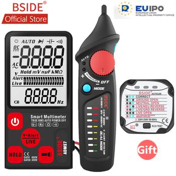 BSIDE ADMS7 Tester napięcia 3 5 #8221 duży wyświetlacz LCD cyfrowy inteligentny multimetr 3-Line wyświetlacz TRMS 6000 liczy DMM z analogowym bargrafem tanie i dobre opinie Elektryczne 600V 6000 ohm Auto Range Cyfrowy wyświetlacz 136*67*12mm 0-40 ℃ 6000 Counts 2*3V (CR2032)-include 40Hz~1000Hz