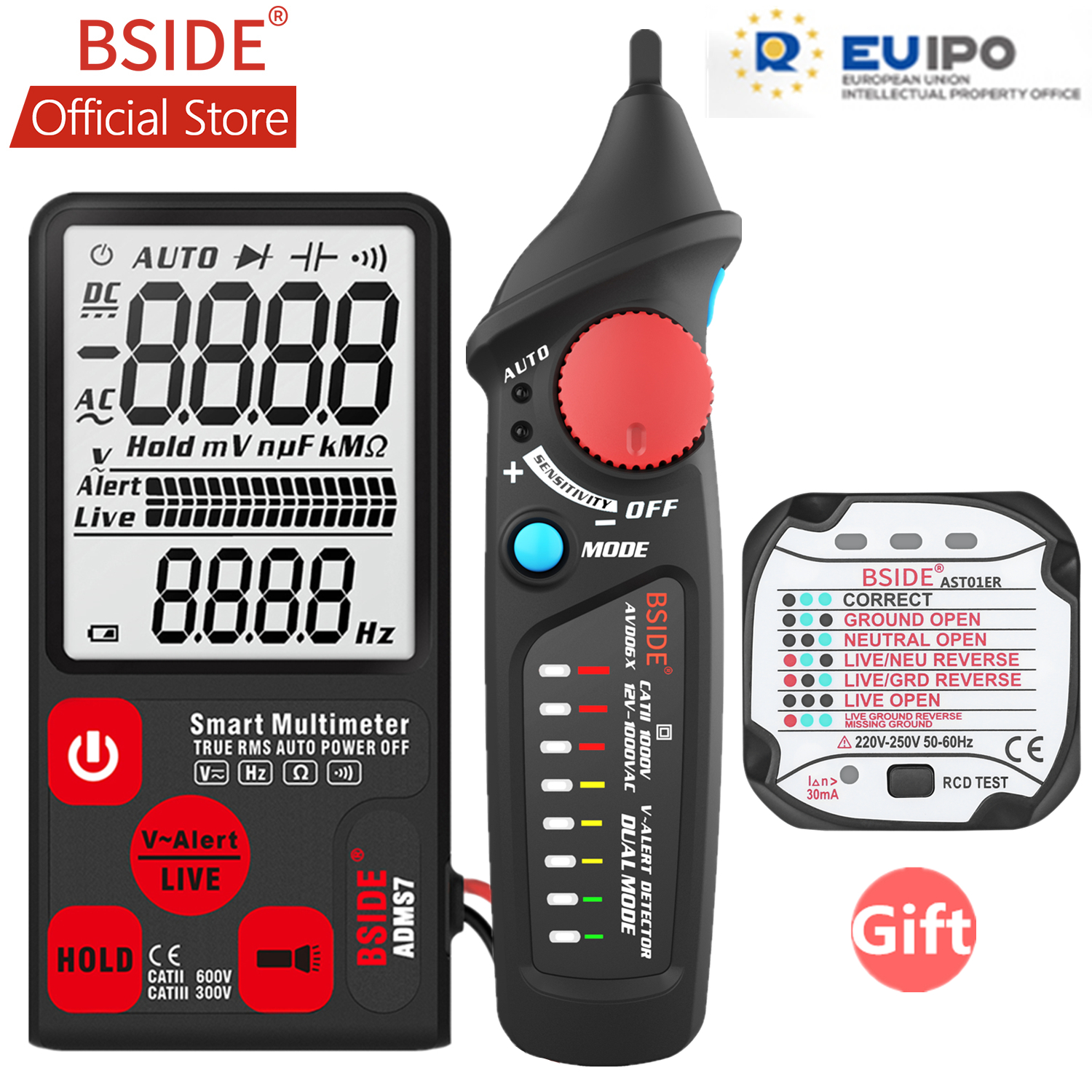BSIDE ADMS7 Voltage Tester 3.5'' Large LCD Digital Smart Multimeter 3-Line Display TRMS 6000 Counts DMM with Analog Bargraph