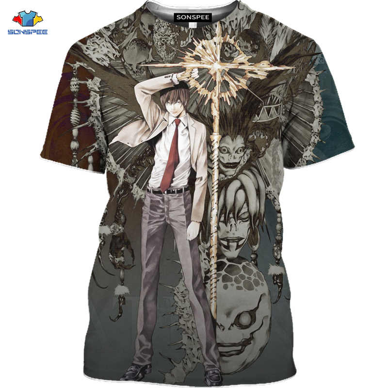 Sonspee Nieuwe 3D Horror Anime Death Note T-shirt Angel En Demon Cross Shirt Compressie Gym Mannen T-shirt Monster Bijbel shirt Top