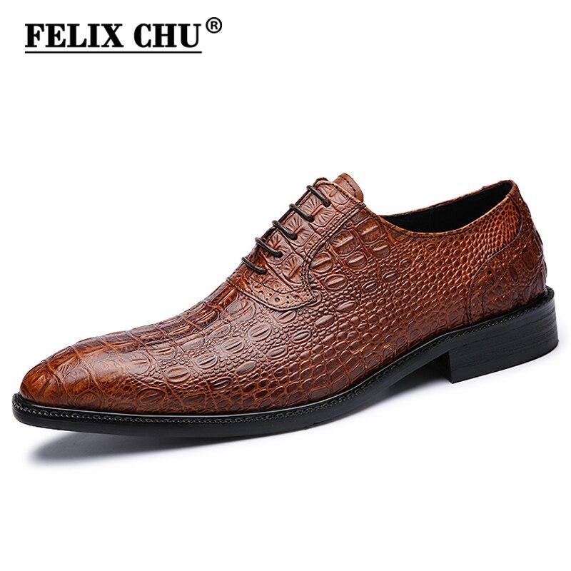Ayakk.'ten Resmi Ayakkabılar'de FELIX CHU İtalyan Erkek Düğün Siyah Lace Up Oxford Ayakkabı Hakiki Deri Timsah Baskı Parti Iş Mens Kahverengi Elbise Ayakkabı'da  Grup 1