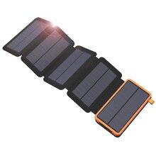 20000mAh خزان طاقة يعمل بالطاقة الشمسية المزدوجة USB شاحن شمسي ضد الماء بطارية خارجية شاحن الطاقة مع مصباح ليد للهواتف الذكية
