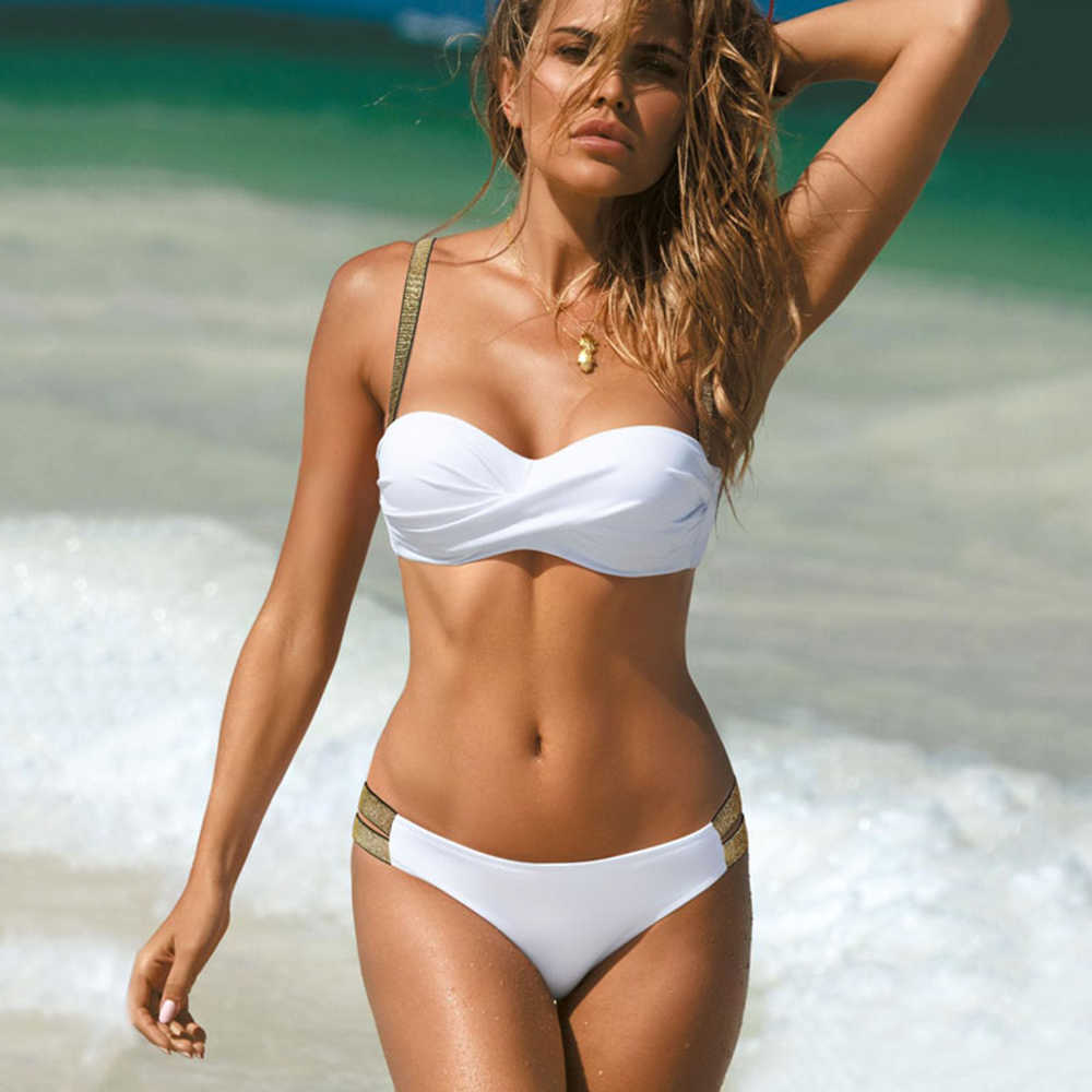 2020 セクシーなソリッドカラーのビキニ女性水着バンドー biquini 水着女性水着プッシュアップビキニセットビーチウェア
