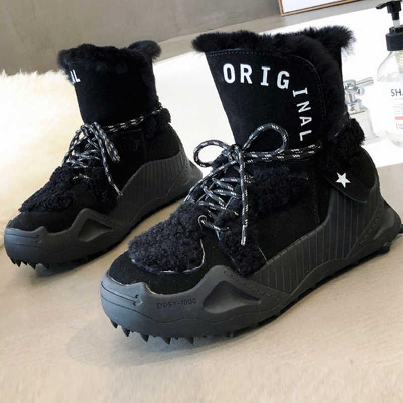 SARAIRIS yeni marka bayanlar kış bölünmüş deri kar botları kadın 2020 kaymaz yüksek platformu kürk çizmeler sıcak takozlar ayakkabı kadın