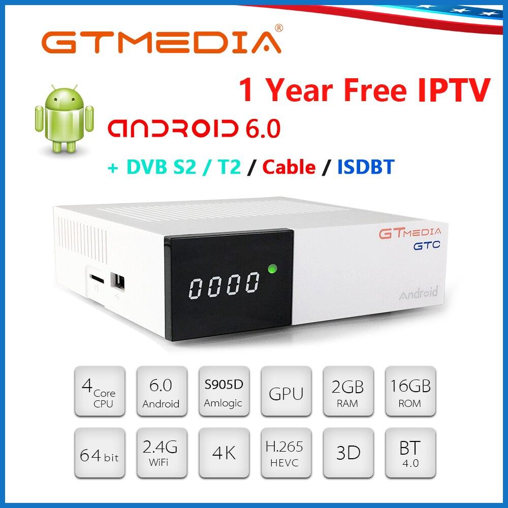 FREESAT GTC Smart TV Box Android 6.0 2GB 16GB S905D 4K H.265 Wifi Netflix Set Top Box+1 Year Cccam Media Player Android IPTV BOX