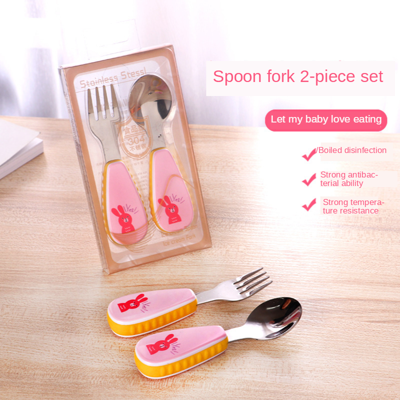 Tableware And Fork Set Spoon 304 Stainless Steel Creative A Cute Cartoon Silicone 4 For Children Baby