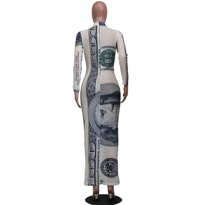 Bonnie Forest Womens Long Sleeve Money Print Mesh Party Dress Womens Autumn Vintage Print Maxi Dress Party Club Outfits
