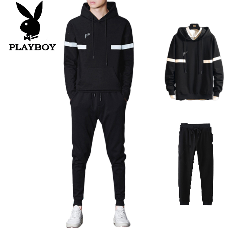 Playboy Fashion Men's Slim Breathable Comfortable Hooded Sweater Running Sports Clothes   Pants Two-piece Suit