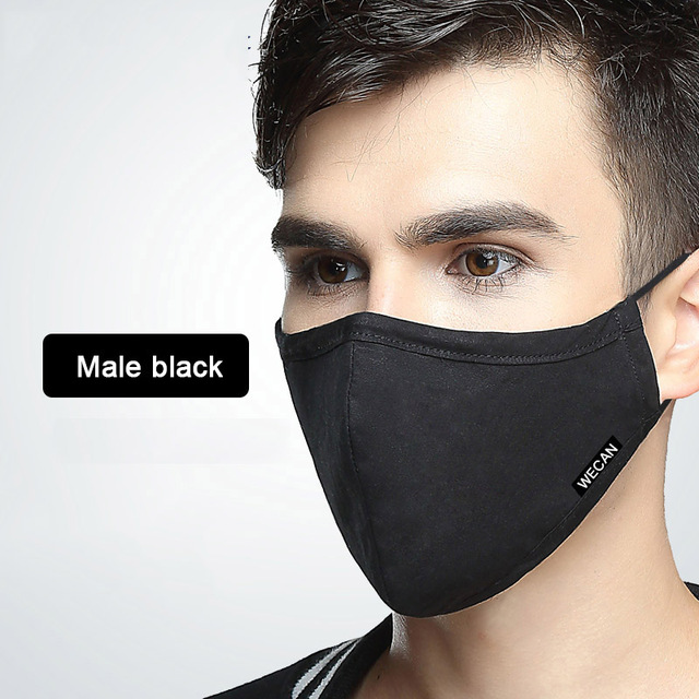 Kpop Cotton Dustproof Face Mouth Mask for Winter Running With Carbon Filter Black Mask On The Mouth