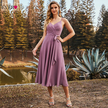 Orchid Purple Bridesmaid Dresses Short Ever Pretty Elegant A Line Spaghetti Straps Chiffon Wedding Party Dress With Belt ES03127 2