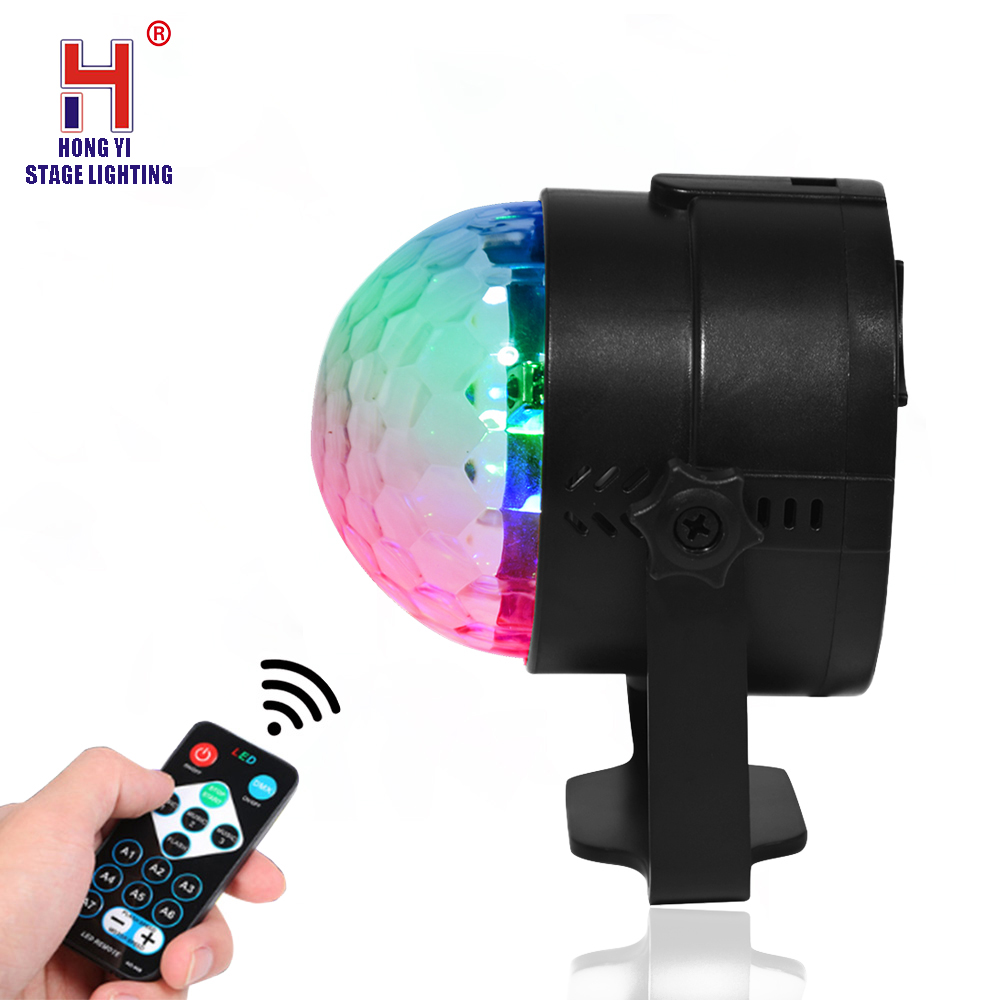 DJ Lights 3W LED Crystal Magic Ball Light Sound Activated Light With Remote Control For Disco KTV Club Show