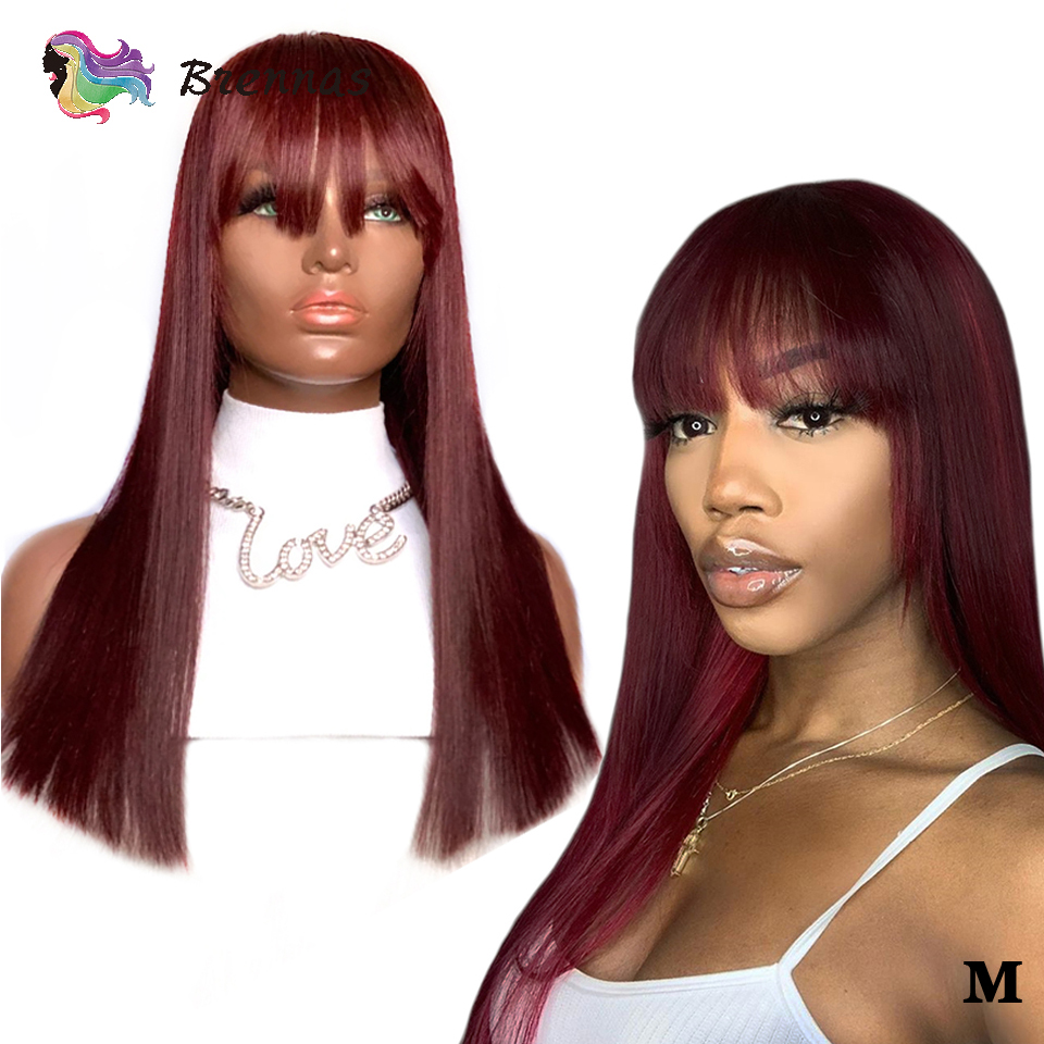 Long Straight Hair Lace Wig With Bangs Brazilian 13x6 Lace Front Wig With Bangs #99J Color Bleached Knots Remy Hair For Women