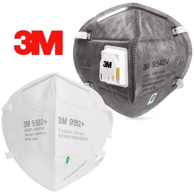 Fast Deliver Authentic 3M KN95 KN90 Mouth Mask With Valve 9542V 9502 FFP3 Anti-Bacterial Respirator In Stocking