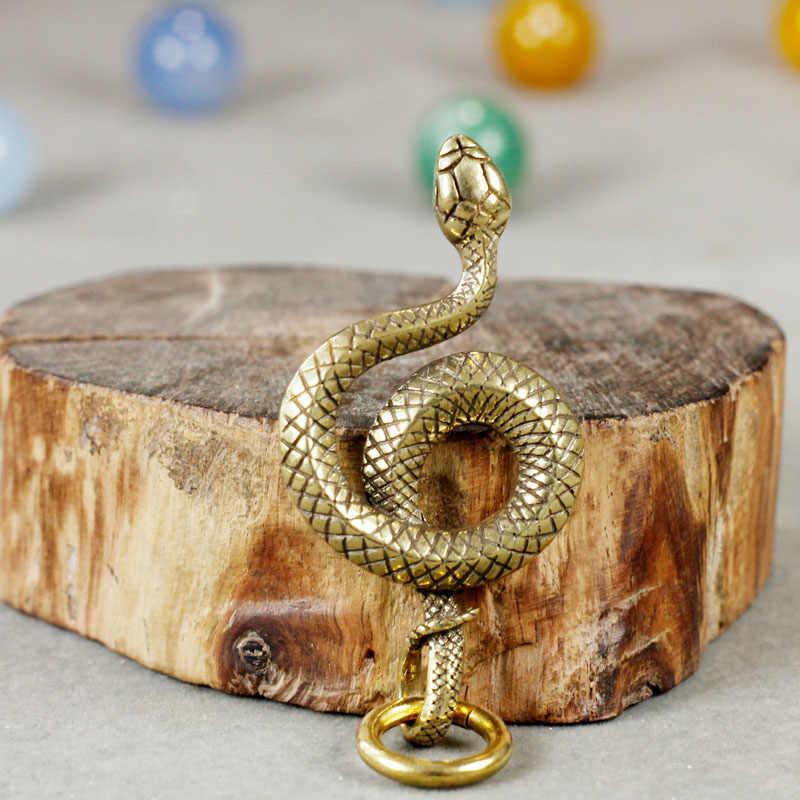 Creative ทองเหลืองพวงกุญแจรถสัตว์งู Key จี้ Vintage ทองแดง Pythons Key แหวน Charms เครื่องประดับแขวนเครื่องประดับ