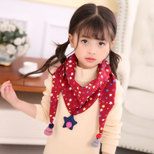 Children 's Double-Layer Triangular Binder Scarf Korean Style Autumn and Winter Cotton Linen Fashion Double-Sided
