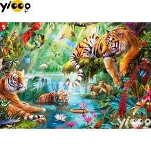 Полноразмерная/круглая алмазная живопись с тигром в джунглях