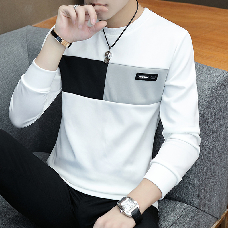 2019 New T - Shirt Men's Long Sleeve Shirt Trend Loose Clothes Thin Backing Shirt