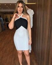 купить Lyer 2019 fall dresses for women black and white patchwork backless rayon bandage dress party dress дешево