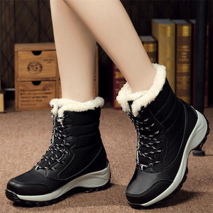 Image 5 - Женские ботинки, зимние водонепроницаемые ботинки, женская обувь 2019, женские зимние ботинки на платформе, сохраняющие тепло ботильоны, женские ботинки большого размера 41 42
