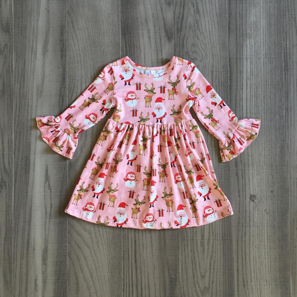 Exclusive Girlymax Christmas Girls Children Clothes Baby Santa Claus Fall/Winter Long Sleeve Ruffles Milk Silk Dress Boutique 2