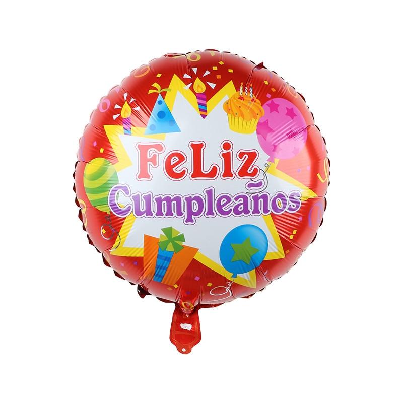 10 шт 18 Inch круглый Форма испанский Feliz cumpleaños С Днем Рождения украшения из материала майлар Фольга воздушные шары с гелием вечерние поставки-1