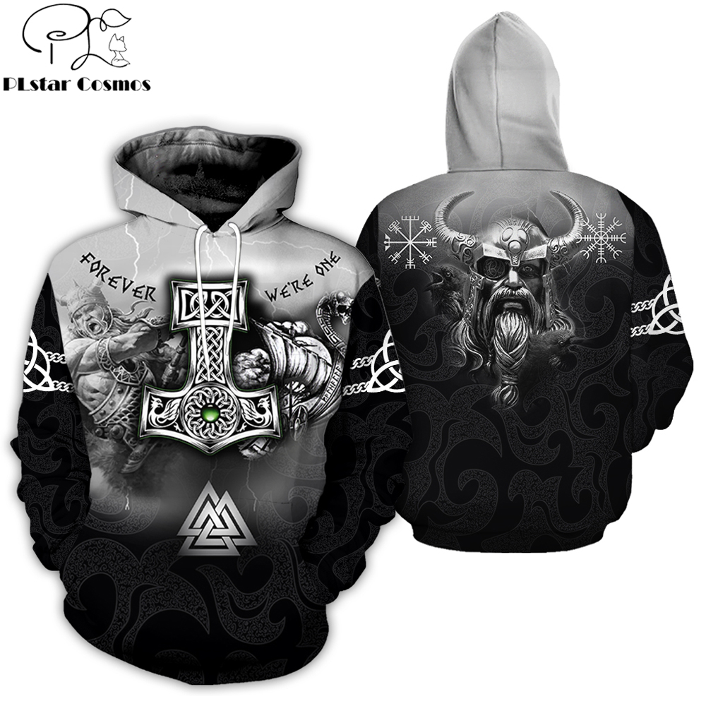 PLstar Cosmos 2019 New Fashion Men Hoodies 3D All Over Printed Tattoo Viking Odin Hoodie Apparel Unisex Casual Hoody Streetwear