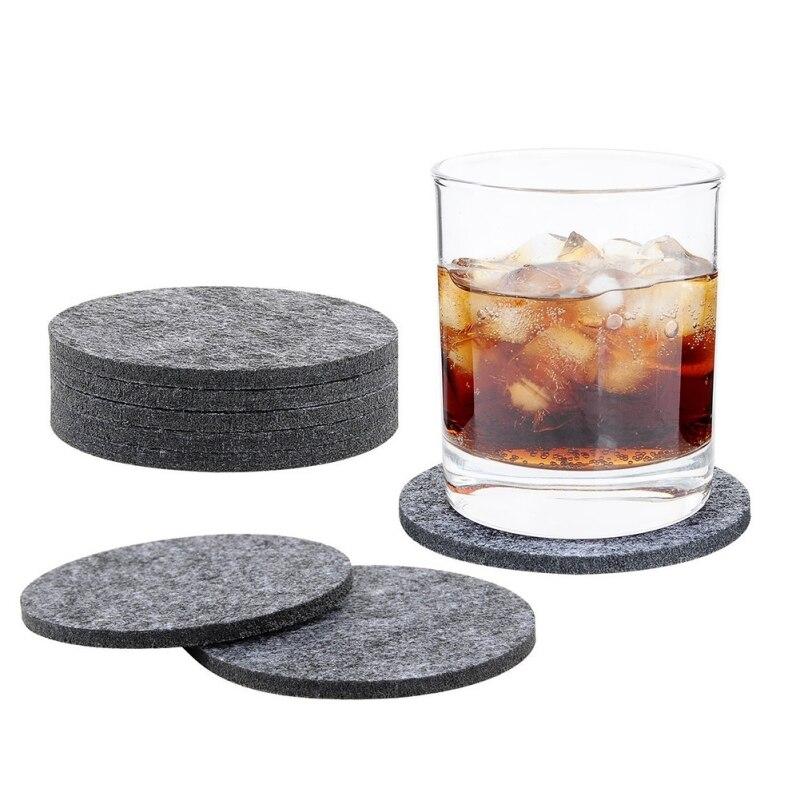 Caja redonda de fieltro de la taza de La posavasos almohadilla de almacenamiento para el tazón de taza placa de vidrio manteles accesorios de bebida posavasos aislado 8 Uds