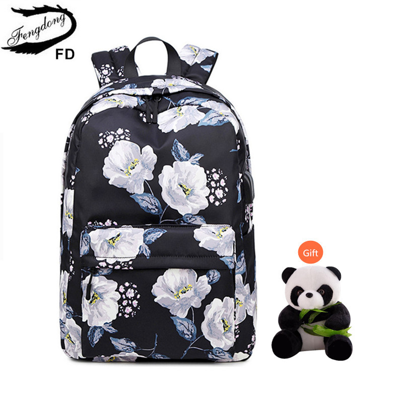 Fengdong Girls School Bags Children's School Backpack Child Gift Black Flower Backpack Waterproof Backpacks For Teenage Girls