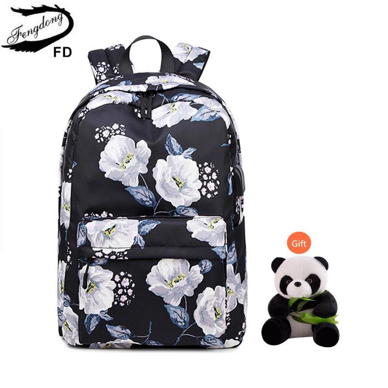Fengdong Girls School Bags Children's School Backpack Child Gift Black Flower Backpack Waterproof Backpacks For Teenage Girls
