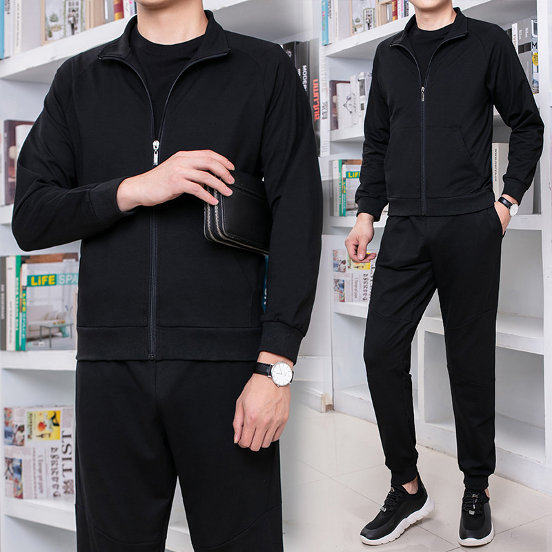 Autumn New Style Zip-up Jacket Leisure Sports Suit Young MEN'S Trend With Cotton Two-Piece Set Men'S Wear