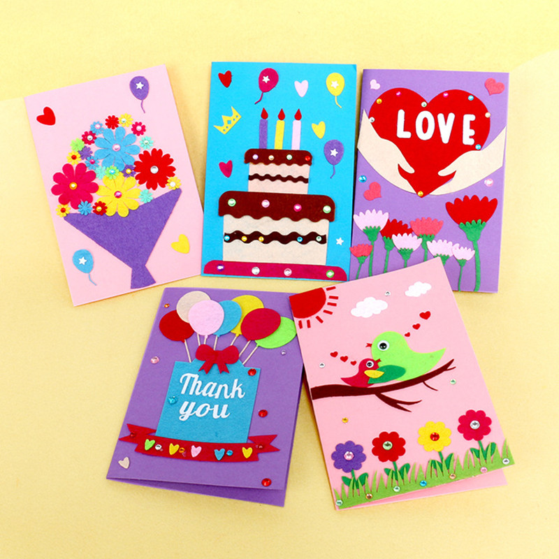 NEW 5PCS Children's DIY Homemade Cards Material Package Birthday Holiday Thanksgiving Congratulatory Card Education Handmade Toy