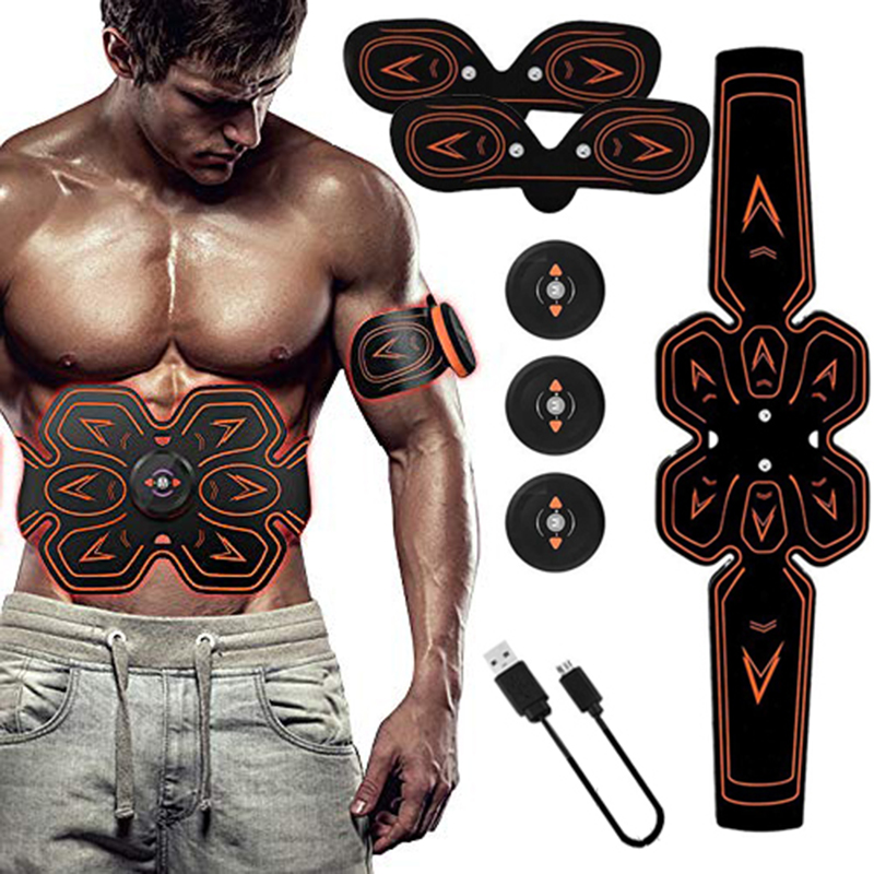 ABS Stimulator Muscle Toner Abdominal Toning Belt Electrostimulation EMS Training Home Office Fitness Equipment (USB Charging)