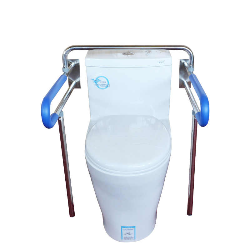 Toilet Safety Rail Adjustable Height Bathroom Grab Bar for Elderly Pregnant Woman Disabled Carbon Steel Color : Blue