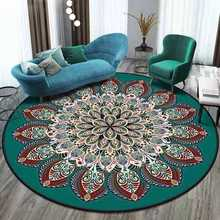 Alfombras redondas clásicas americanas para sala de estar mandala étnico flor alfombra persa alfombras para habitación de los niños estera de juego Silla de ordenador