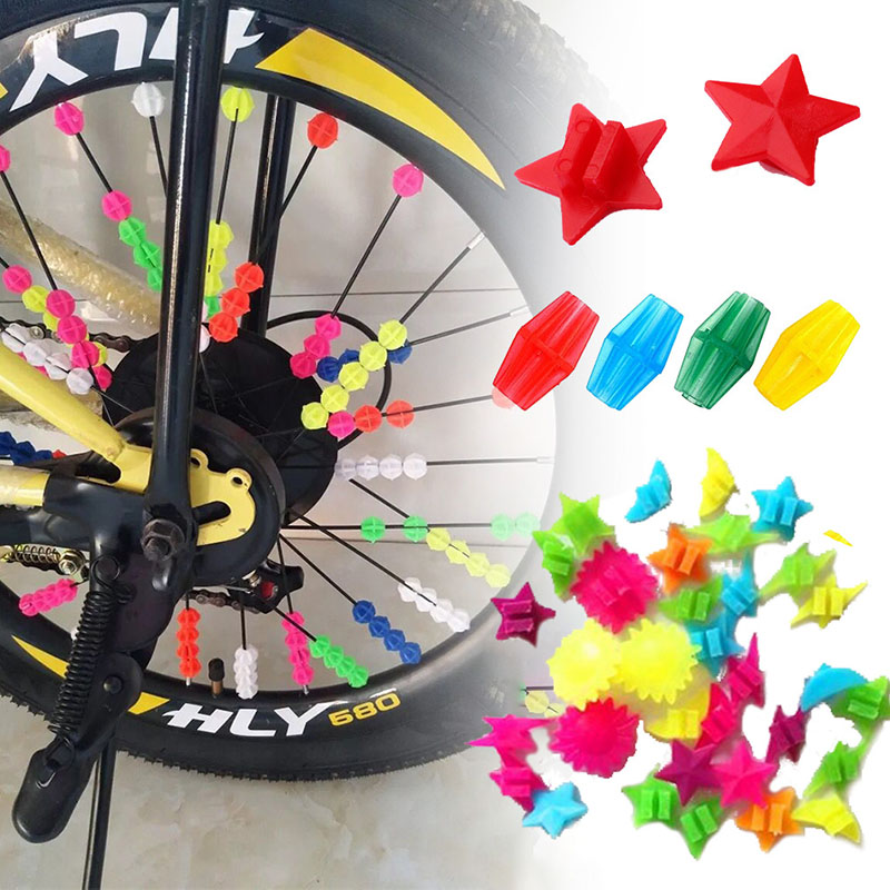 Colored Bicycle Bike Wheel Plastic Spoke Bead Children Kids Clip Decoration