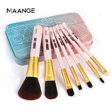 Maange brocha de maquillaje portátil, 7 unidades, caja de hierro, para sombra de ojos, herramientas de maquillaje, base, colorete, cosmética