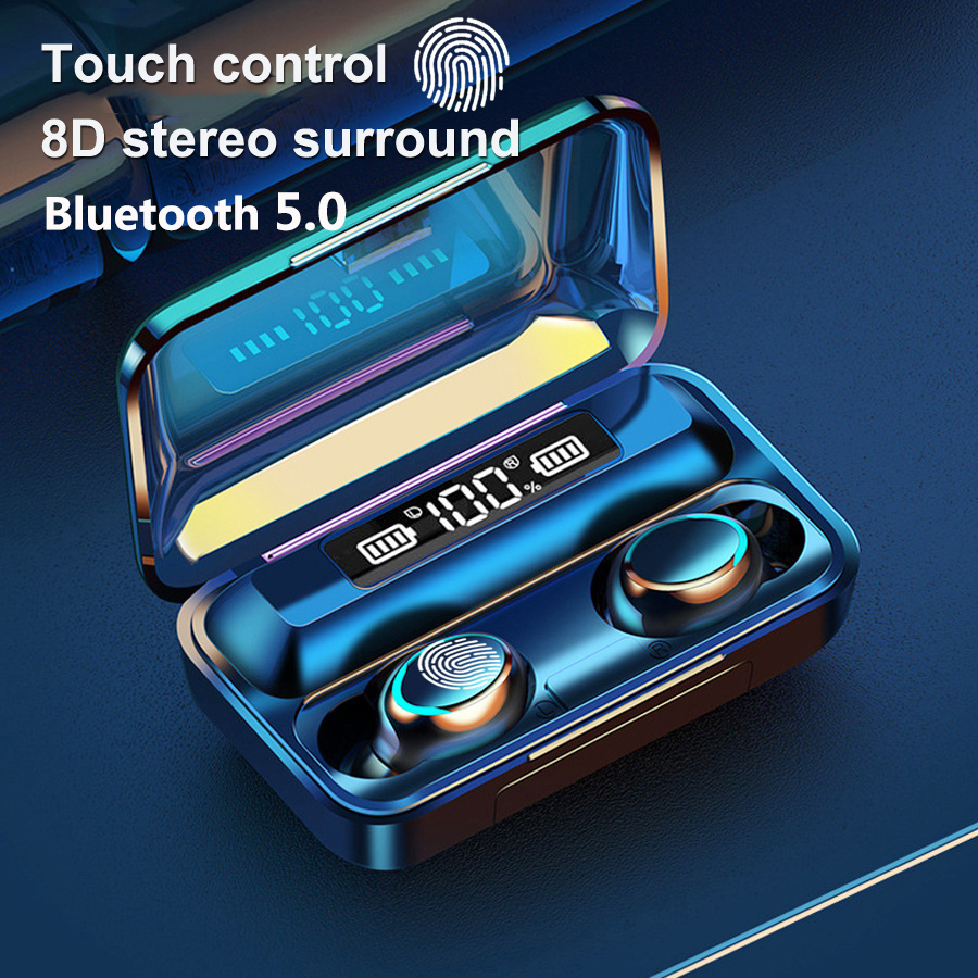 F9-5 <font><b>TWS</b></font> <font><b>5.0</b></font> Bluetooth Earphones Wireless Earphone 8D Bass Stereo In-ear Earbuds Handsfree Headset With Microphone Charging Case image
