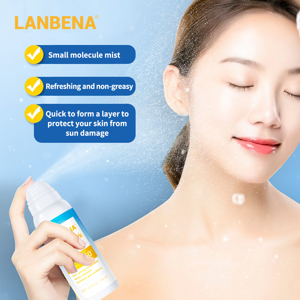 LANBENA Sunblock Spray SPF 50PA+++ Brightening Sunscreen Sunblock Breathable Effectively Against Radiation Water Resistant 120ml