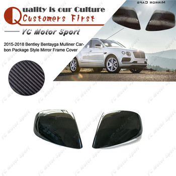 Car Accessories Carbon Fiber Mirror Cover Fit For 2015-2018 Bentley Bentayga Mulliner Carbon Package Mirror Frame Cover image