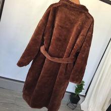 Женский Тренч из искусственного меха, банный халат с поясом, Женское пальто, зимняя Длинная женская куртка, 2019