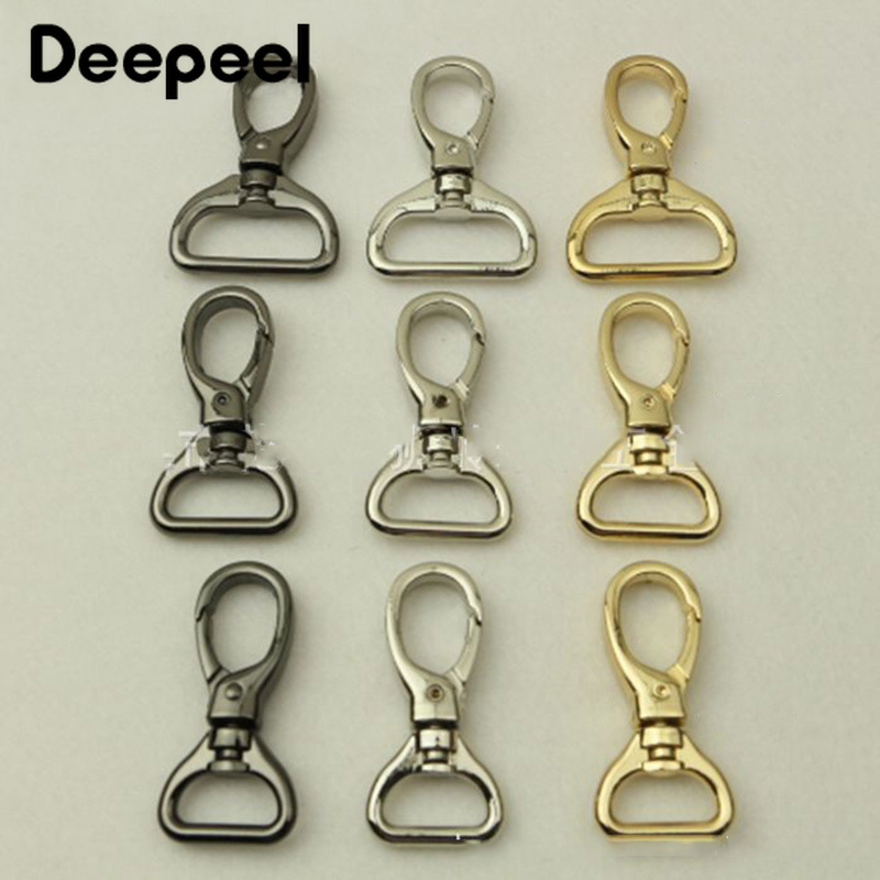 Deepeel 4pcs 15/20/26/32mm Luggage Hardware Accessory Metal Snap Buckles Bag Strap Swivel Clasp Lobster Hook DIY Keychain Clip