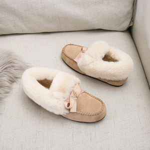 Image 3 - 2019 Winter Faux Fur Shoes Woman Loafers Warm Fluffy Plush Flock Bowtie Boat Ballet Flats Soft Roll Egg Peas Oxfords Moccasins