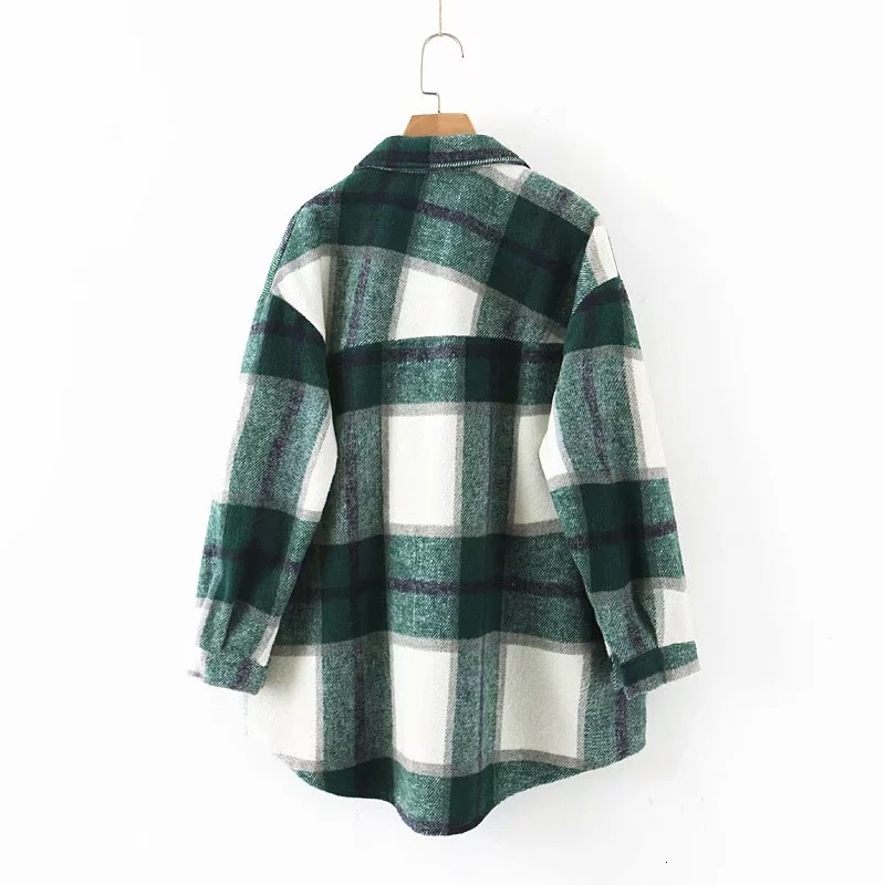 H3a0e27e63e69450b96fe849081828954t 2019 Autumn Winter Plaid Oversize Jackets Loose Causal Checker Streetwear Coat