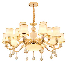 European Gold Luxury LED Crystal Chandelier Living Room Dining Bedroom Studio Hotel Villa Zinc Alloy Lamps